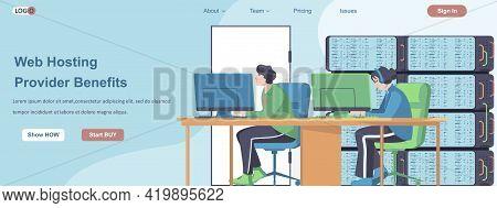 Web Hosting Providers Benefits Banner Concept. Online Administrators Team Working In Computer Web Da