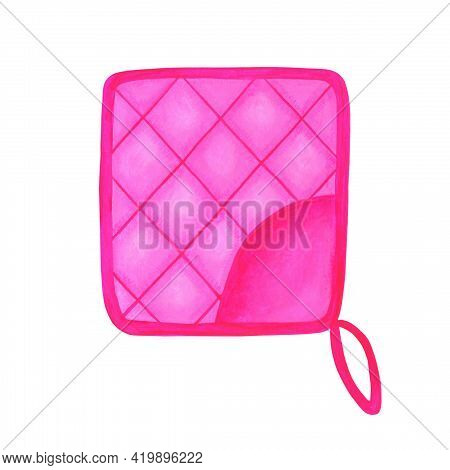 Pink Oven Mitt Isolated On White Background. Bright Watercolor Illustration In A Realistic Style. It