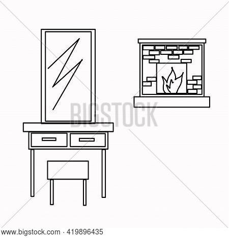 Fireplace, Comfort, Heating, Fire, Console, Chest Of Drawers, Mirror. Part Of A Set Of Furniture And