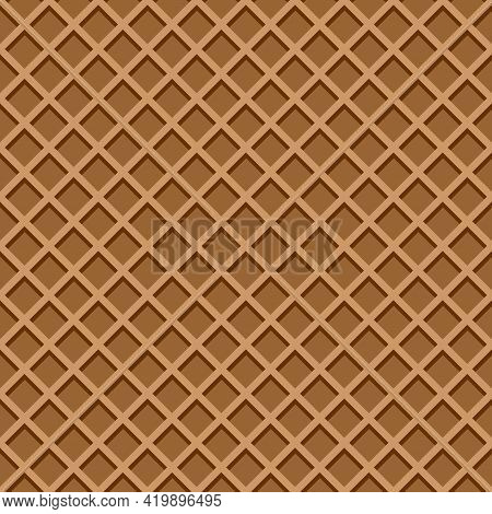 Ice Cream Waffle Cone Texture. Chocolate Wafer Background Seamless Pattern. Vector Flat Cartoon Illu
