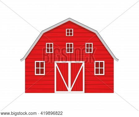 Red Wooden Barn Isolated On White Background. Farm Warehouse With Big Door And Windows. Front View.