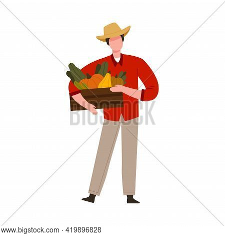 Man Farmer In Straw Hat Holding Wooden Crate With Ripe Vegetables Vector Illustration