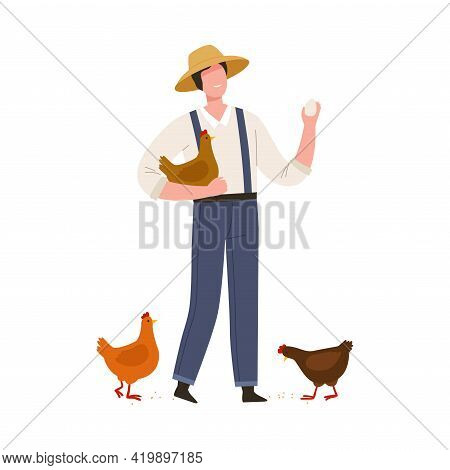 Man Farmer In Straw Hat Gathering Eggs From Hens Vector Illustration