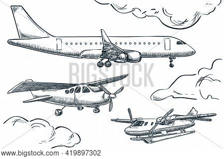 Planes Collection, Vector Sketch Illustration. Seaplane, Hydroplane And Tourist Plane Isolated On Wh