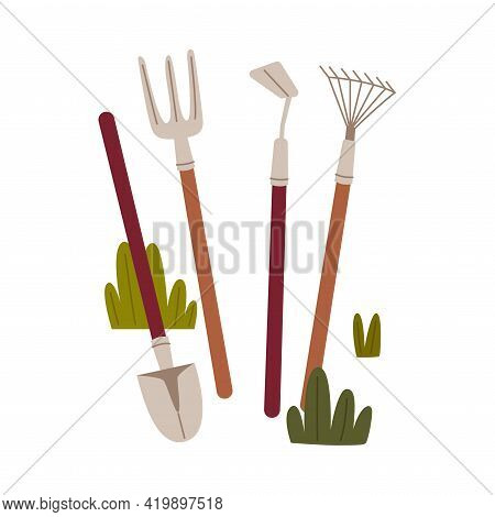 Shovel, Pitchfork And Hoe As Garden And Agricultural Tool Vector Illustration