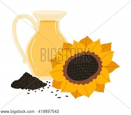 Ripe Sunflower And Jug With Oil As Seasonal Harvesting And Yield Vector Illustration