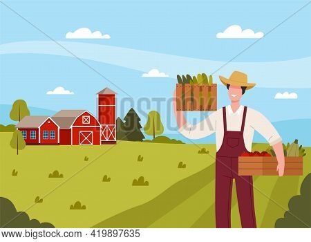 Country View With Man Farmer In Straw Hat Holding Wooden Crate With Ripe Vegetables Vector Illustrat