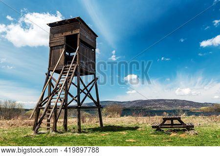 Watchtower Wildlife In Natural Habitat. Vlasina Lake  In Southeast Serbia