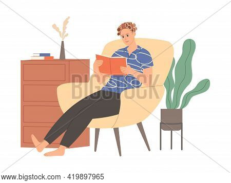 Woman With Curlers In Her Hair Is Sitting And Reading A Book.