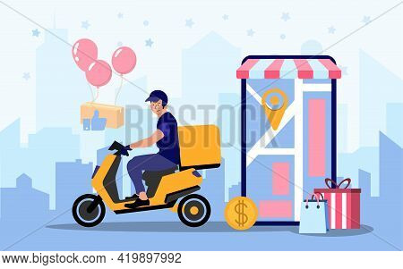 Food Delivery App On A Smartphone Tracking A Delivery Man On A Moped With A Ready Meal, Technology A