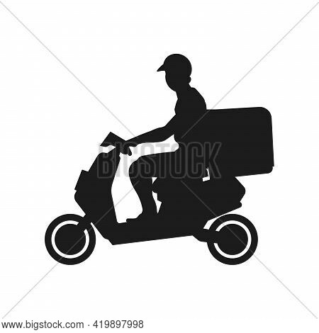 Shipping Fast Delivery Man Riding Motorcycle Icon Silhouette Symbol, Pictogram Flat Design For Apps