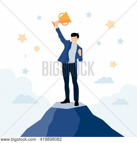 Businessman Staying On The Top Of Mountain Peak And Holding Golden Trophy Up. Support, Working Toget