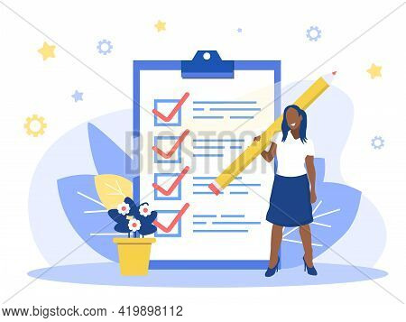 Positive Business Woman With A Giant Pencil On His Shoulder Nearby Marked Checklist On A Clipboard P