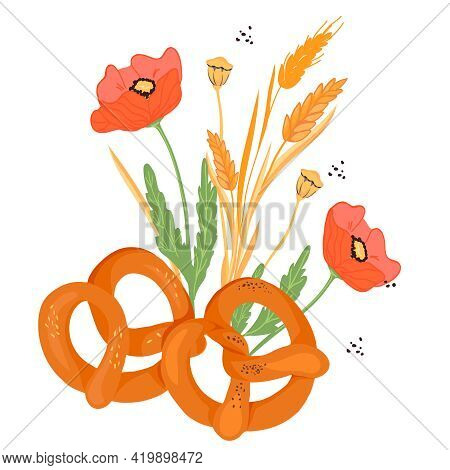 Soft Pretzels Grouped With Cereal Ears And Poppy Flowers, Flat Vector Illustration Isolated On White