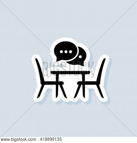 Table For Two Sticker. Conversation. Table And Chairs. Dining Table And Chairs For Two People. Vecto