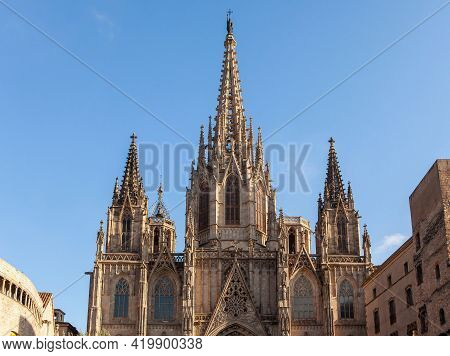 Spires Of The Cathedral Of The Holy Cross And Saint Eulalia In Barri Gothic Quarter In Barcelona, Ca