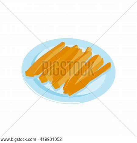 Carrot. Carrot Sticks. Vegetable Appetizer On A Plate. Healthy Snack. Stock Vector Illustration Isol