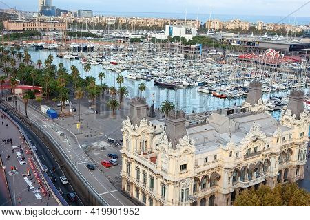 Barcelona, Spain - October 26, 2015: Scenic Aerial View Of Port Vell From The Top Of Columbus Monume
