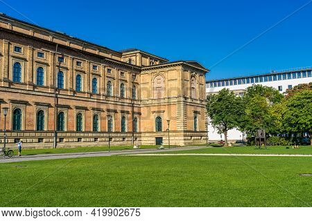 View Of The Historic Palace And Museum Alte Pinakothek In Munich In Bavaria, Germany