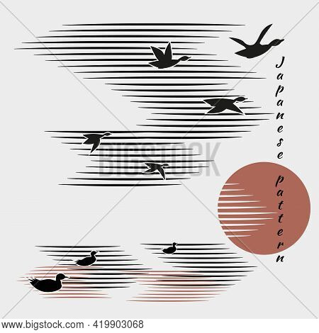 Ducks, Geese Fly Into Bright Sun. Sea, Clouds In Sky On White Background With Black Birds. Minimalis