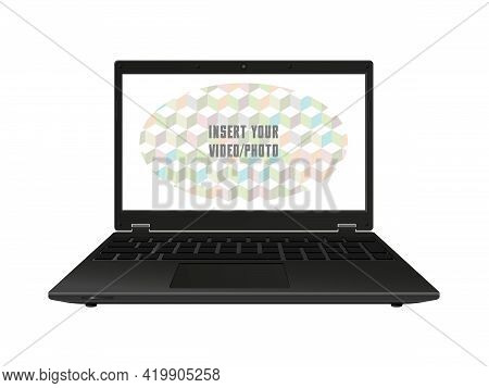 Notebook. Laptop. Isolated On White Background. Empty Transparent Display. 3d Render. Vector Illustr