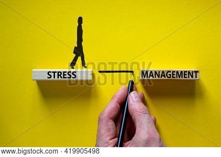 Stress Management Symbol. Wooden Blocks With Words 'stress Management'. Yellow Background. Businessm
