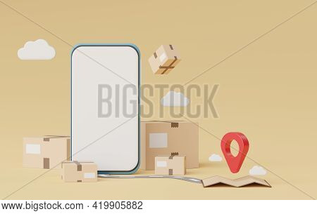 3d Render Mobile Phone With Brown Cardboard Boxes Parcel And Location Map Pin For Mock Up And Creati