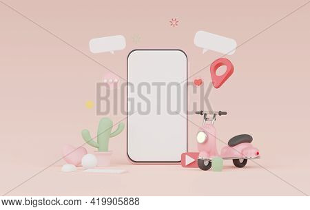 3d Render Minimal Mini Mobile Phone Or Smartphone For Work With White Copy Space For Mock Up And Cre