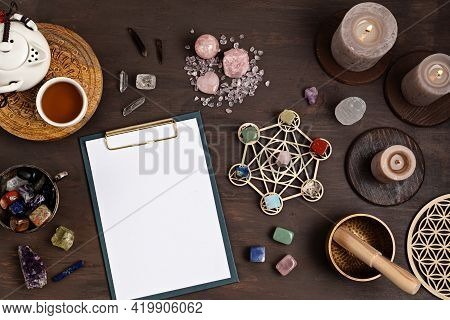 Healing Chakra Crystal Grid Therapy. Rituals With Gemstones And Aromatherapy For Wellness, Healing,
