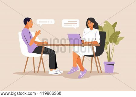 Job Interview Conversation. Hr Manager And Job Candidate Meeting For Interview. Vector Illustration.