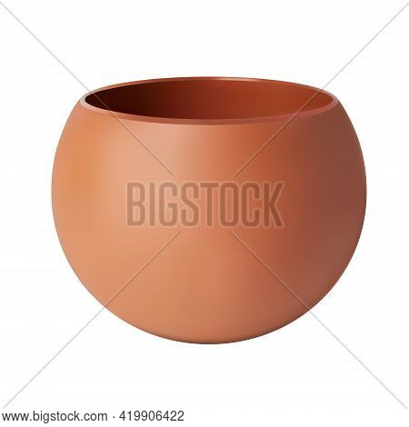 Flower Clay Pot. Ordinary And Clean. 3d Render. Vector Illustration. Isolated Background.