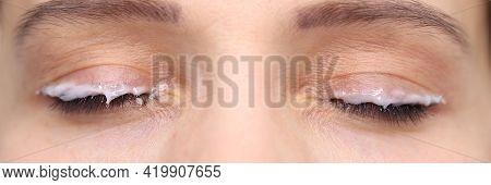 Moisturizer Applied Eyelid Of Female Client Beauty Studio