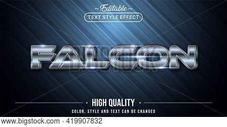 Editable Text Style Effect - Falcon Silver Text Style Theme. Graphic Design Element.