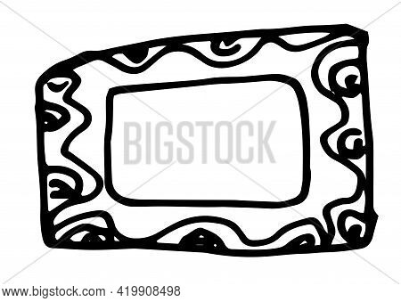 Hand Drawn Card On Black Backdrop. Vector Design Template. Black Background. Doodle Cartoon Style. G
