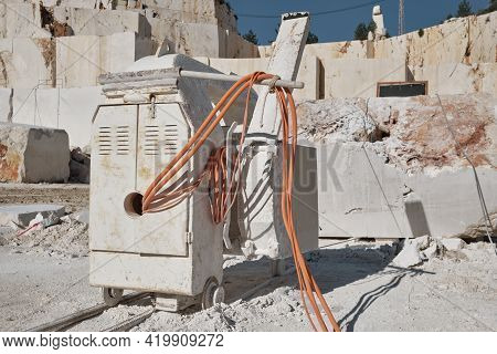 Stone Sawing Machine At Marble Quarry. Marble Cutting Factory. Mining Industry