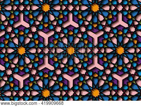 Colorful Islamic Pattern, Graphic Print Art Persian Motif. Ramadan Banner Arabic Round Pattern Eleme