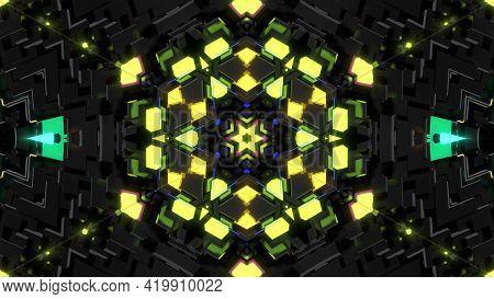 3d Render. Dark Neon Kaleidoscope. 4k Dark Background With Abstract Symmetrical Pattern Of Geometric