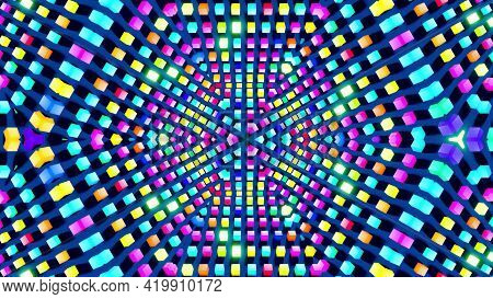 3d Render. Abstract Background With Symmetrical Structures Like Kaleidoscope With Lighting Bulbs, Mu