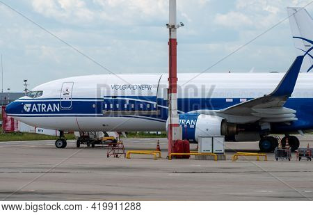 July 2, 2019, Moscow, Russia. An Atran Boeing 737 Cargo Plane On The Airfield Of Vnukovo Airport.