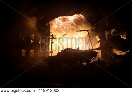 Nuclear War Concept. Explosion Of Nuclear Bomb. Creative Artwork Decoration In Dark.