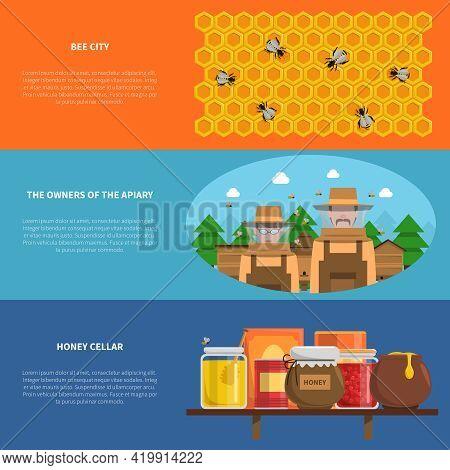 Honey Horizontal Banners Set With Bee City And Honey Cellar Symbols Flat Isolated Vector Illustratio