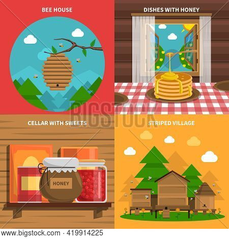 Honey Concept Icons Set With Bee House And Cellar With Sweets Symbols Flat Isolated Vector Illustrat