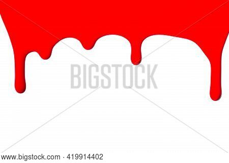 Blot Of Red Enamel Nail Polish Dripping Isolated On White Background.