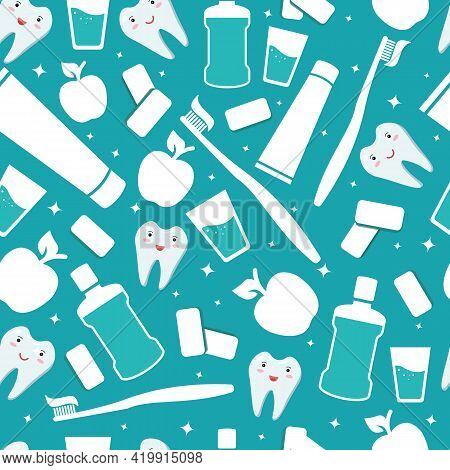 Dental And Oral Care Background. Items For Daily Hygiene Of The Oral Cavity. Mouthwash And Toothbrus