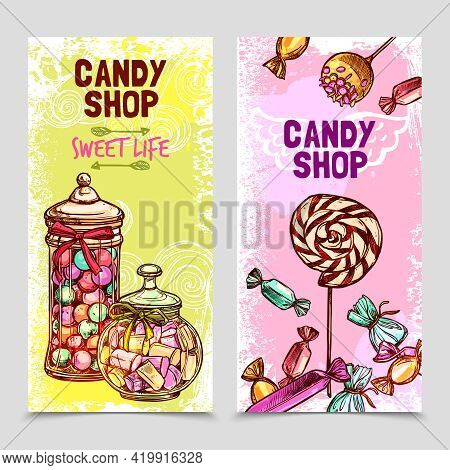 Sweet Vertical Banner Set With Hand Drawn Candies And Marshmallow Isolated Vector Illustration