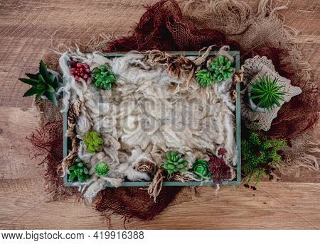 Beautiful background for newborn photosession with colorful plants. Digital composite with wooden box filled with fur and standing on sackcloth