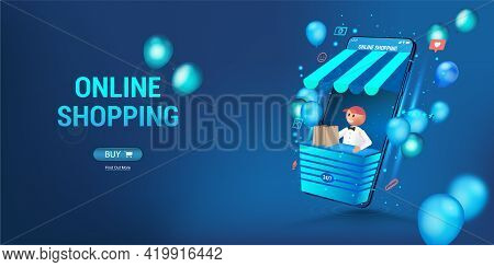 Online Store Via Smartphone. The Seller Looks Out Of The Phone - Concept Online Shopping. 3d Web Ban