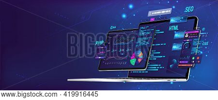 Banner Software Ui And Development For Different Devices. Business App Dashboard With Graph, Charts,