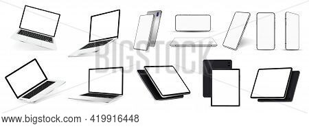 Realistic Gadgets And Devices Mockups - 3d Realistic Smartphones, Tablets And Laptops In A Variety O
