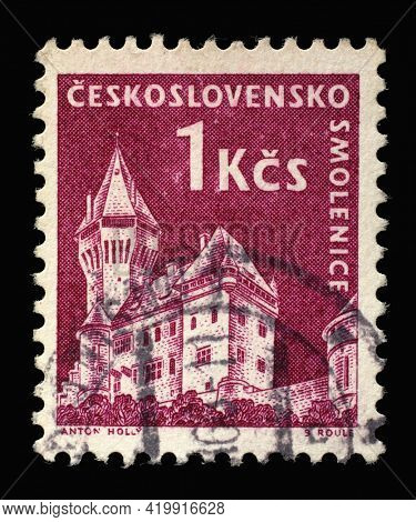 ZAGREB, CROATIA - SEPTEMBER 18, 2014: Stamp printed in Czechoslovakia shows Smolenice castle, series castle, circa 1960